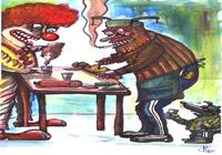 """Клоун и мужие едят батон и колбасу."", автор Марат Самсонов"