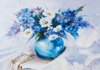 """""""Полевые цветы в голубой вазе"""", автор Денежкина Елена"""