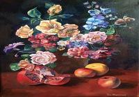 """""""Натюрморт с апельсином, гранатом и двумя яблоками"""", автор Рой-Игнатенко Анна"""