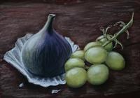 """""""Инжир и виноград. Наждачная бумага,  сухая пастель."""", автор Лия Чащина"""