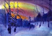 """""""сумерки в зимнем лесу"""", автор моссолайнен николай"""