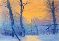 """""""закат в зимнем лесу"""", автор моссолайнен николай"""