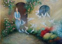 """Девушка и голуби"", автор Костаки Аурелия"