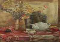 """""""Натюрморт с белым чайником и сухими цветами"""", автор Ширяева Мария"""