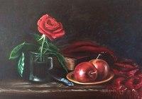"""""""Натюрморт с розой и яблоками. Копия картины неизвестного голландского художника. Масло. Холст."""", автор Комарницкая Александра"""
