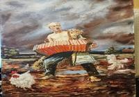 """""""Автопортрет с гармошкой"""", автор Лопатин Анатолий михайлович"""