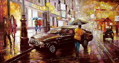 Художник Дмитрий Спирос и его дождь в городе