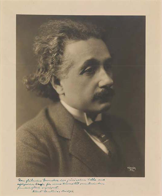 Herman Mishkin (1870–1948), Albert Einstein, Photograph, signed and inscribed by Einstein, 1921. Private Collection.