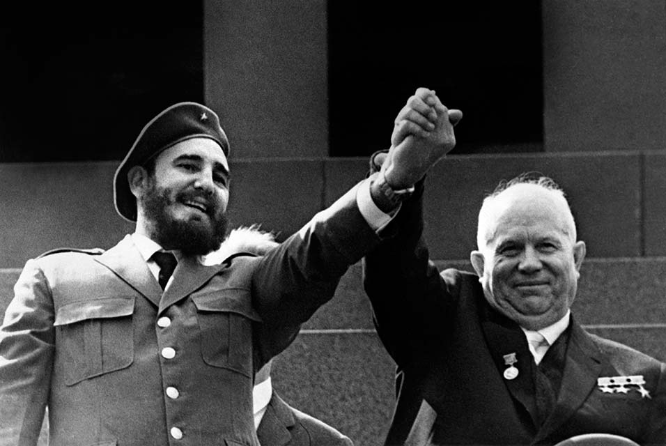 This file photo taken on may 1963 shows Cuban First Secretary of the Cuban Communist party and President of the State Council Fidel Castro(L) and Soviet leader Nikita Khrushchev during a four-week official visit to Moscow.